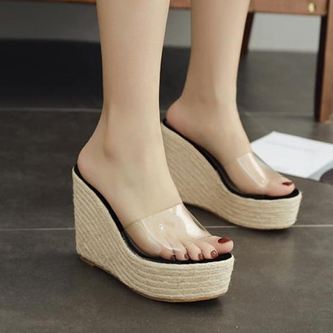 Women PVC Jelly Sandals Slippers Shoes Casual Sexy Wedges 11.5CM Sandals