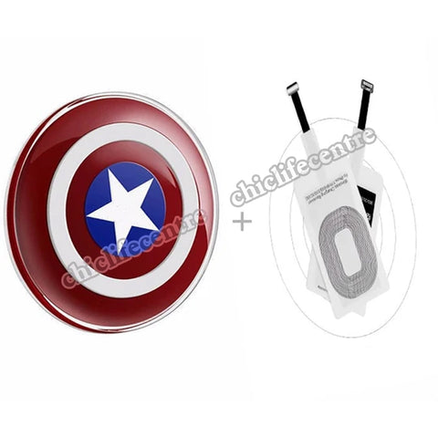 Captain American Charging Pad kit Wireless Charger Transmitter+ Qi Receiver For iPhone5 5S SE 6 6S 6 7Plus