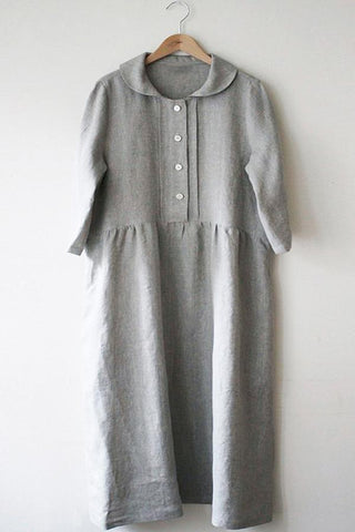 Casual Doll Neck Button Down Shift Dress