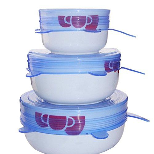 6 Pack: Reusable Silicon Stretch Food Preservation Lids