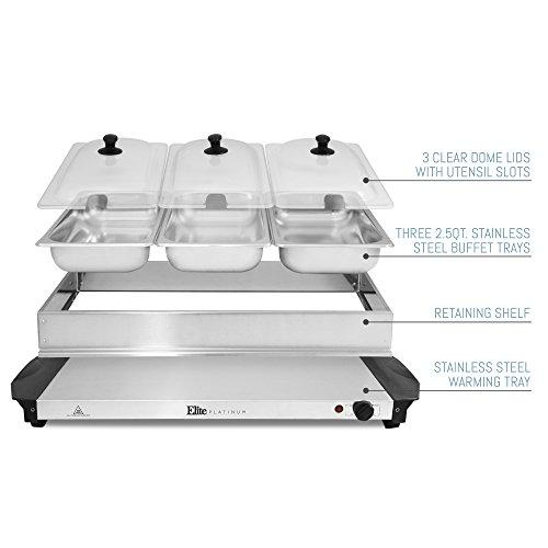 Stainless Steel Platinum Triple Server Buffet Food Warmer