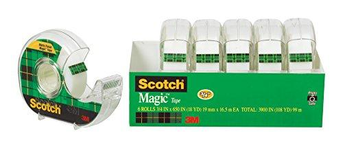 Scotch Magic Tape and Refillable Dispenser, 3/4 x 650 Inches, 6-Pack (6122)