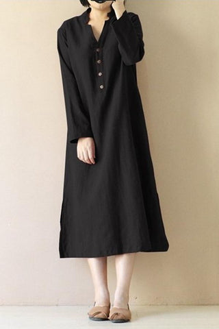 Long Sleeve Slit Hem Linen Dress