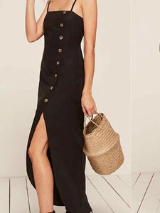 2018 SPAGHETTI STRAPS BUTTON SEXY LONG DRESS