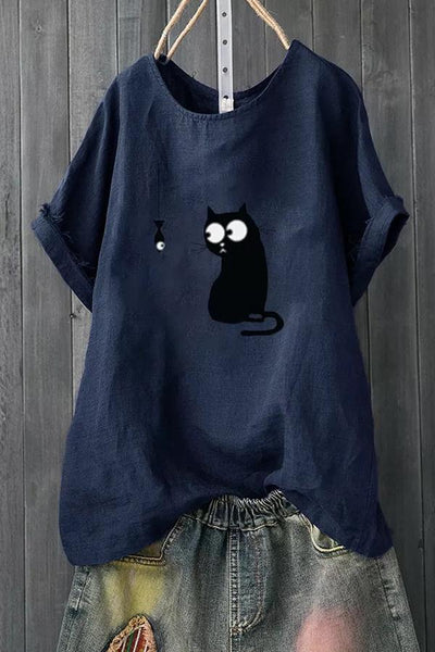 Cat Print Crew Neck T-shirt