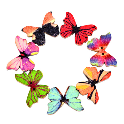 50Pcs Butterfly 2 Holes Wooden Buttons Scrapbooking DIY Craft Wedding Decoration