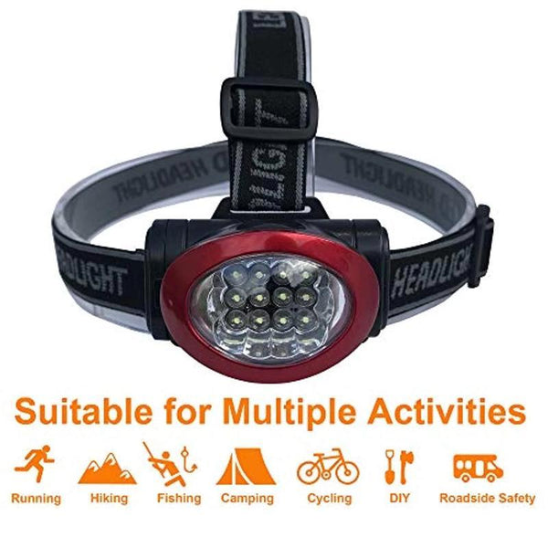 10 Pack of 12 LED 3 Mode Portable Lightweight Durable Headlamp Flashlight