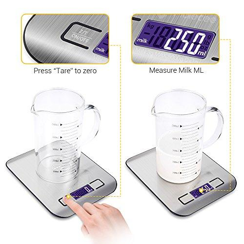 Kitchen Food Scale Digital Weight - Stainless Steel, Slim and Stable, Large Display, Measure Dry and Liquid, Easy to Clean, with Grams and Ounces, Holds Up to 11Ibs, include 2 AAA Battery - Molecee