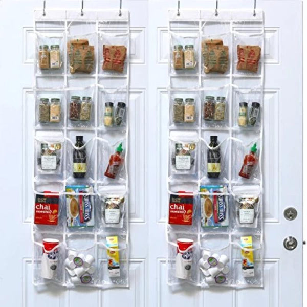 2 Pack: Transparent Over the Door Hanging Pantry Organizer