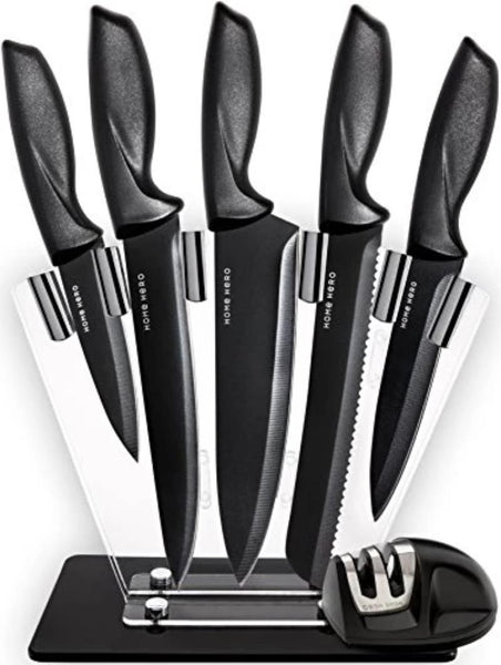 7 Piece Stainless Steel Professional Chef Knife Set with Stand and Knife Sharpener