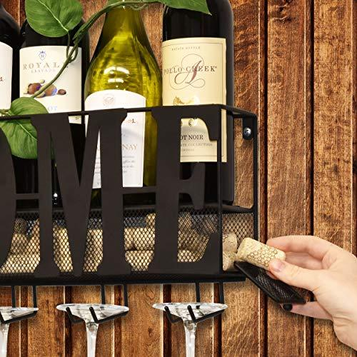 Wall Mounted Metal Wine Rack and Wine Glass Holder