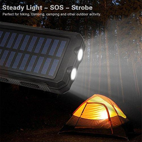 Solar Power Charging 20000mAh Waterproof Portable Power Bank with Dual LED Flashlight