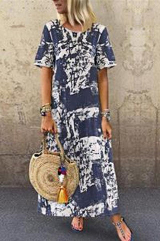 Round Neck Print Short Sleeves Maxi Vintage Dress