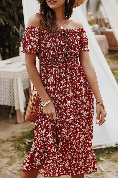 Short Sleeve Floral Print Off Shoulder Casual Dress