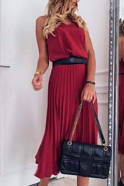 Sleeveless Solid Color Spaghetti Strap Pleated Dress