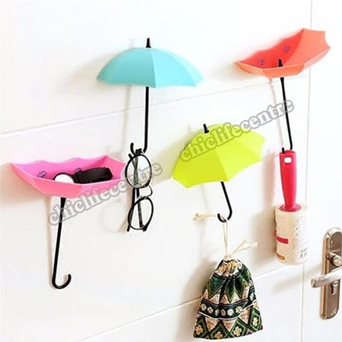 3pcs Creative Colorful Umbrella Shaped Self Adhesive Hanging Wall Storage Hook Key Hanger Rack Decorative Hooks