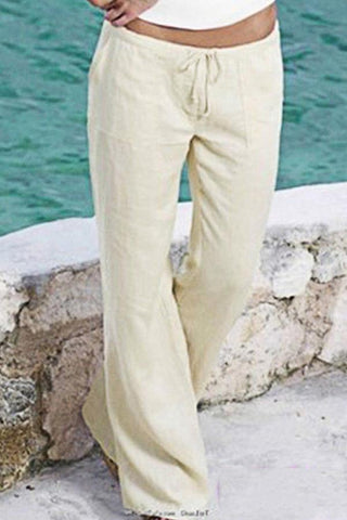 Pockets Drawstring High Waist Cotton Pants