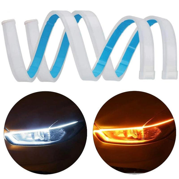 2PC Set of Ultrafine  Daytime Running Light Flexible Soft Tube LED Waterproof Strip