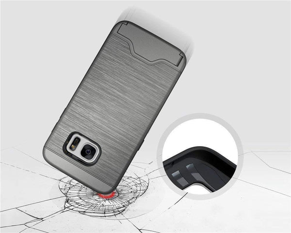 Galaxy S7 Case Wire Drawing Shockproof Hard Armor Card Slot Holder Protective Shell Kickstand