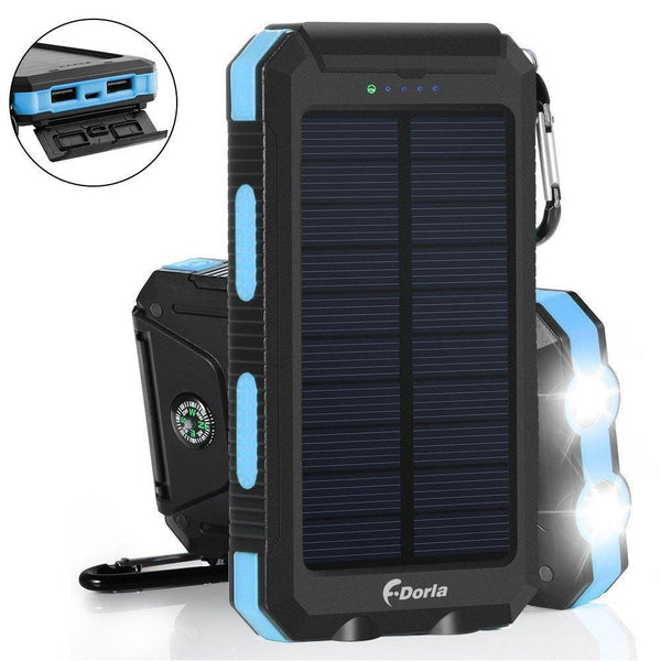 Solar Charger 20000mAh Power Bank, Portable Charger Solar Phone Charger with 2 USB Port 2 LED Light External Battery Pack for Emergency Travelling Camping, iPhone Android Cellphone Charging