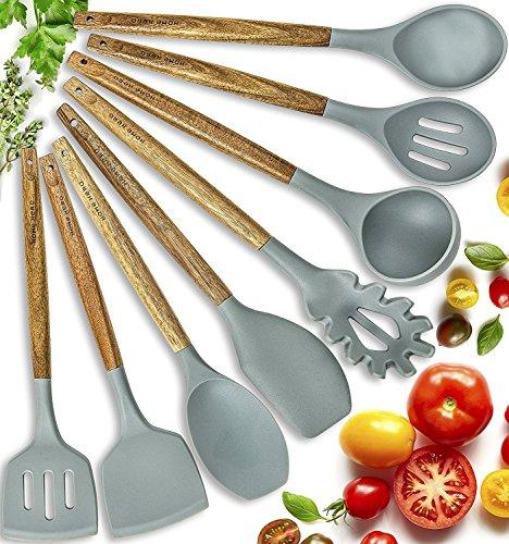8 Piece: Natural Acacia Wooden Silicone Kitchen Cooking Utensil Set