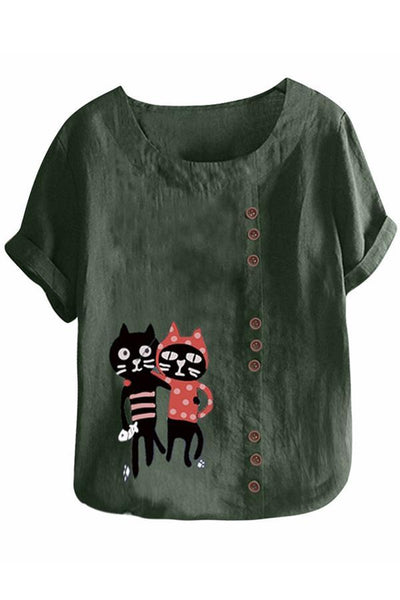 Cats Print Buttoned Round Neck T-shirt