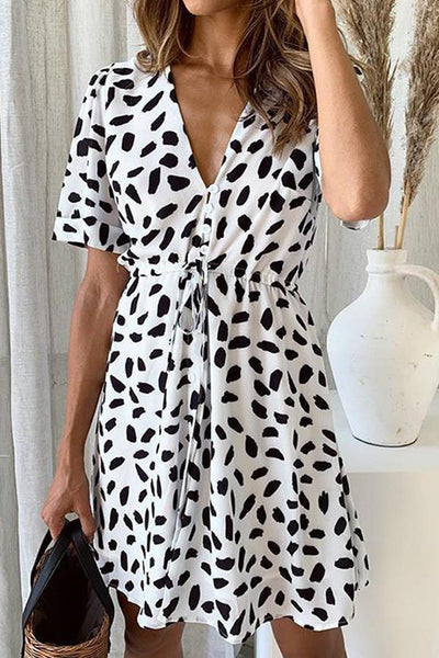 Short Sleeve Natural Print V Neck A-Line Dress