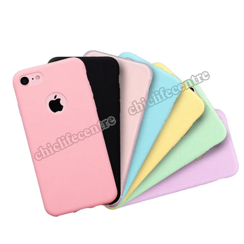 Phone Cases For iPhone 7 6 6s 8 X Plus 5 5s SE XR XS Max Candy Color Silicone