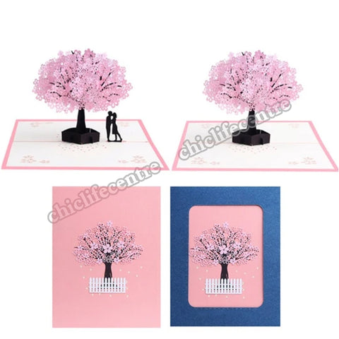 3D Pop UP Cards Flowers Birthday Card Anniversary Gifts Postcard Paper Carving Cherry Tree Wedding Invitations Greeting Cards