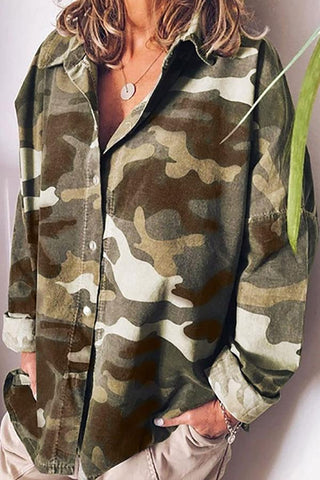 Camouflage Casual Button Loose Shirt