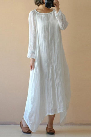 Linen Solid Irregular Hem Maxi Dress