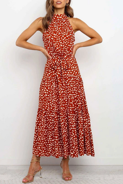 Sleeveless Polka Dot Round Neck Casual Wear Dress