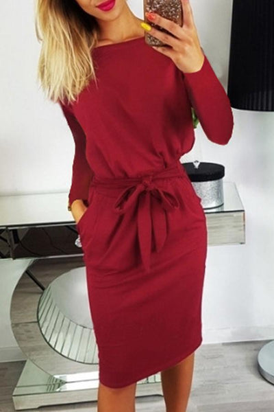 Long Sleeve Solid Color Round Neck Casual Wear Dress