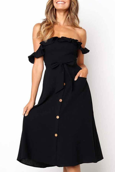 Puff Sleeve Solid Color Off Shoulder Single Breasted Dress
