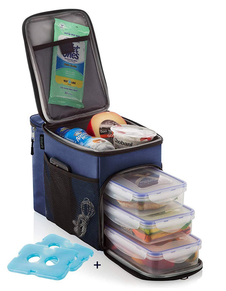 Heavy Duty Insulated Cooler Zipper Lunchbox with 3 Compartments