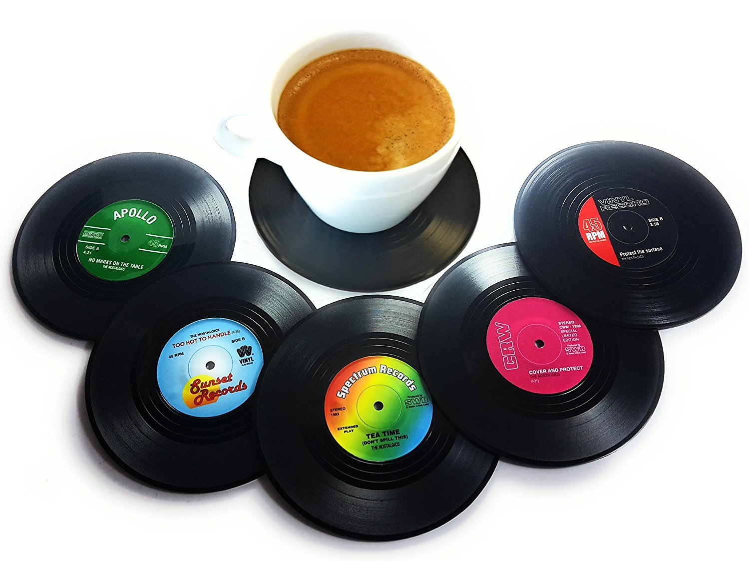 6 Pack: Vinyl Record Disc Coffee Table Coasters