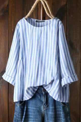 Casual Loose Crew Neck Stripe Long Sleeve Blouse