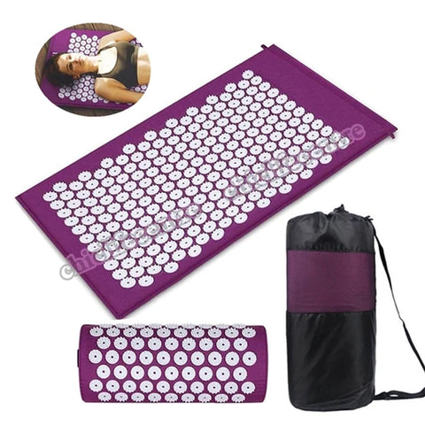 Yoga Acupressure Mat and Pillow Set Cushion Mat Bed Pilates Fitness Massager Relieve Back/Foot/Neck Body Pain with Carry Bag