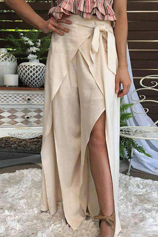 Cotton High-Waist Belted Slit Wide Leg Pants