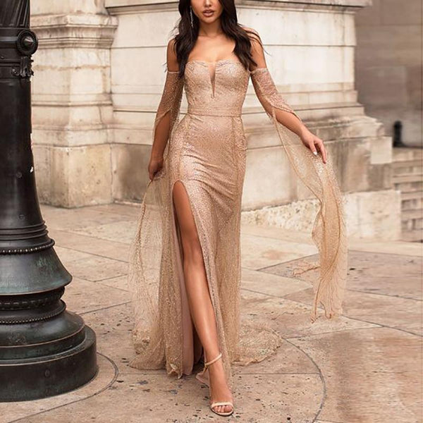 Sexy Golden Tube Top High Slit Long Evening Dress