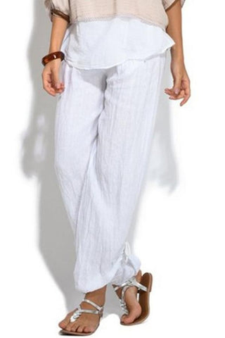 Casual Buttoned-Decor Harem Wide Leg Pants