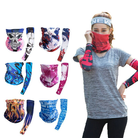 Cycling Face Mask Outdoor Riding Hiking Seamless Magic Face Cover Ice Sunscreen Arm Sleeve Scarf Set Cuff Group Combination