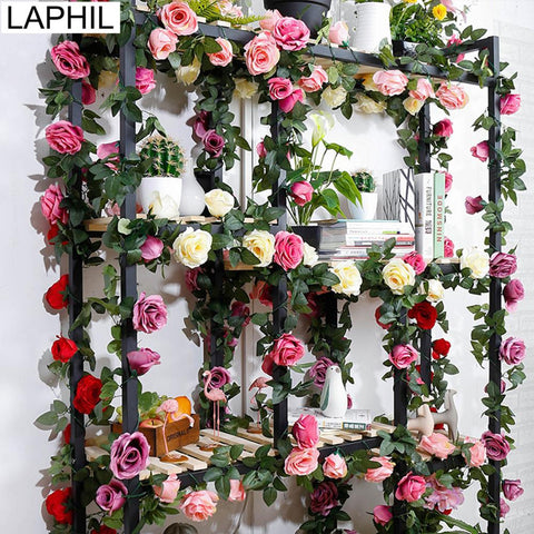 Artificial Rose Vine Rattan Hanging Rose Flower Garland for Romantic Wedding Party Home Decoration Fake Flower