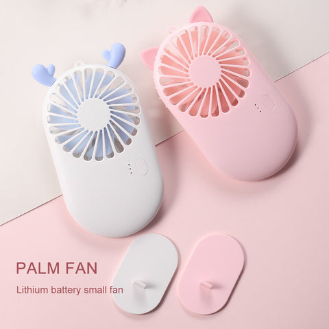 Pocket Fan Ultra Thin Mini Mute Office Desktop Cartoon USB Handheld Fan