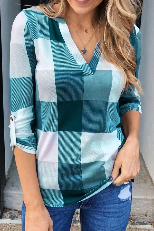 Casual Long Sleeves Plaid T-shirt
