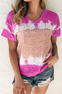 Causal Short Sleeve Color Block Print T-Shirt