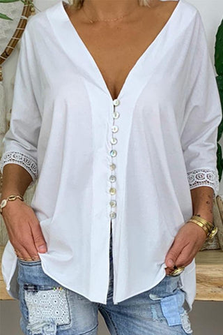 Casual Deep V-neck Button-down Lace Sleeve Decor Blouse