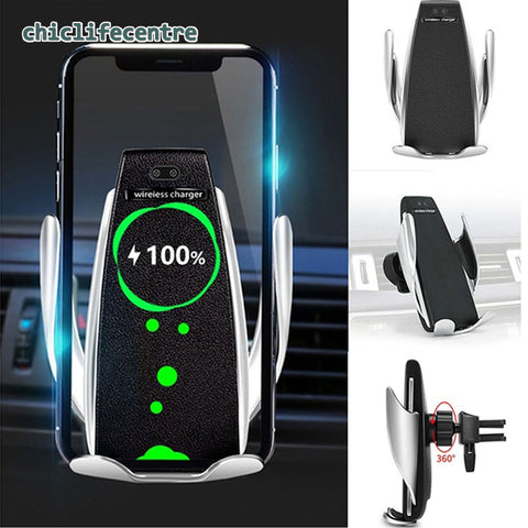 10W Wireless Car Charger S5 Automatic Clamping Fast Charging Phone Holder Mount in Car for iPhone xr Huawei Samsung