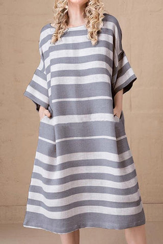 Casual Striped Side Pockets 3/4 Sleeves Midi Dress