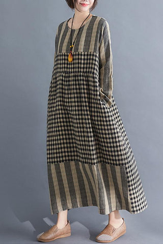Vintage Plaid Round Maxi Dresses
